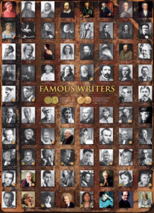 A puzzle that shows famous writers including Geoffrey Chaucer, Pearl S. Buck, and Margaret Atwood.